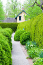 Formal garden at spring fresh green landscape of Royalty Free Stock Photography