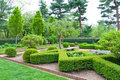 Formal garden at spring fresh green landscape of Stock Images