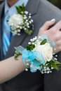 Formal Prom Wedding Corsage Flowers Boy and Girl Royalty Free Stock Photo