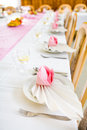 Formal table with napkins ready for meal serving shallow dof Stock Photography