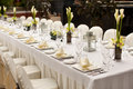 Formal table setting. Outdoor garden style table decoration Royalty Free Stock Photo