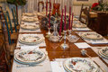 Formal table at thanksgiving a dining decorated for christmas or Royalty Free Stock Photos