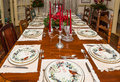 Formally set dining table at christmas a room for a family dinner Stock Photography