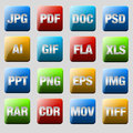Format icons file formats icon set Royalty Free Stock Photo