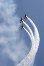 Formation of YAK 52 airplanes at Romanian Air Show Stock Photo