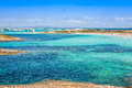Formentera balearic island view from sea of the west coast Royalty Free Stock Photo