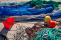 Formentera balearic islands fishing tackle nets longliner trawler trammel Royalty Free Stock Photos