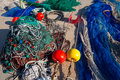 Formentera balearic islands fishing tackle nets longliner trawler trammel Stock Photos