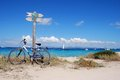 Formentera beach ses illetes is the most famous in island mediterranean island Royalty Free Stock Images