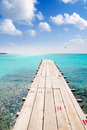 Formentera beach wood pier turquoise balearic sea Royalty Free Stock Photography