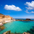 Formentera es calo des mort beach turquoise mediterranean at mitjorn of balearic islands Royalty Free Stock Photos