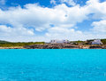 Formentera Es Calo San Agusti houses sea view Stock Photos