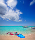 Formentera ibiza ses illetes beach with wind surf windsurf on shore sand Royalty Free Stock Images