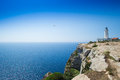 Formentera lighthouse light house on balearic islands Royalty Free Stock Photo