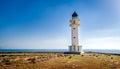 Formentera lighthouse white at island spain balearic islands Stock Image