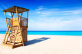 Formentera Llevant beach lifeguard house Stock Photography