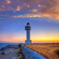Formentera sunset in barbaria cape lighthouse at balearic mediterranean islands Royalty Free Stock Photos