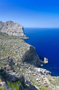Formentor abyss vertical view for majorca rocky cliffs Royalty Free Stock Photography