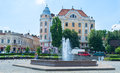 The former rudolfsplatz chernivtsi ukraine june philharmonic square with small fountain and view on hotel bristol on june in Royalty Free Stock Photos
