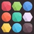 Formes facettées par fond plat pour des ic nes chiffres colorés simples de diamant pour le web design conception à la mode Images libres de droits