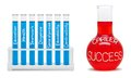 Formula of career success concept with blue and red flasks clipping path included Royalty Free Stock Photo