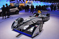Formula e electric racer on display during the geneva motor show geneva switzerland march Royalty Free Stock Photography