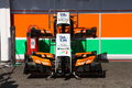 Formula one force india paddock f photos parts of race cars Royalty Free Stock Photos