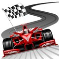 Formula 1 Red Race Running on Gran Prix Circuit for World Championship vector illustration