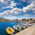 Fornells port in menorca marina boats balearic islands of spain Stock Photography