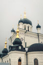 Foros orthodox church in the crimea in the fog elements of cathedral is located on southern coast of on a low hill Stock Photography