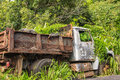 The forsaken rusty truck in the vegetation hawaii an old abandoned Stock Photos