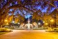 Forsyth park in savannah ga georgia usa at fountain Stock Image