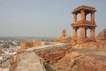 Fort atop rocky mountain at Badami Stock Photos
