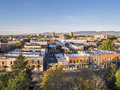 Fort collins downtown aerial view of in sunrise light shot from a low flying drone Royalty Free Stock Photos