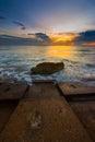 Fort De Soto Gulf Pier after Sunset Tierra Verde, Florida Verti Royalty Free Stock Photo