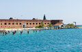 Fort jefferson dock garden key in the dry tortugas is the site of the historic is a massive but unfinished coastal Stock Images