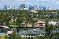 Fort Lauderdale skyline and adjacent waterfront homes Royalty Free Stock Photo