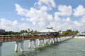 Fort myers beach pier on a beautiful day view of the and as seen from the end of the Royalty Free Stock Photo