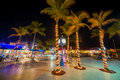 Fort myers beach time square at night estero island downtown florida usa Stock Image