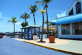 Fort myers beach times square trolley stop fl usa july in near the heart of estero island s downtown Stock Image