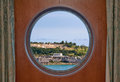Fort saint catherine in bermuda st george s as seen through a ship porthole Royalty Free Stock Image