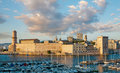 Fort saint jean in marseille the century at sunset france Royalty Free Stock Photo
