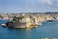 Fort st angelo and grand harbour viewed from valetta malta Stock Photo