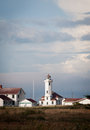 Fort worden lighthouse cloudy day storm front moving Stock Images