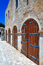 Fortetza: Old doors at Venetian fortress in Crete Stock Photos