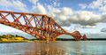 Forth bridge the is an iron built cantilever railway over the firth of in the east of scotland miles west of Stock Images