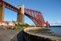 Forth bridge a two and a half mile long cantilever across the river tay in scotland Royalty Free Stock Photos