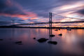 Forth road bridge sunset Royalty Free Stock Images