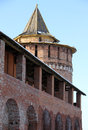 Fortification fragment of an ancient with a tower in the town of kolomna russia Royalty Free Stock Image