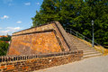 Fortification od vysehrad castle with staircase and pedestrian way prague czech republic Stock Images
